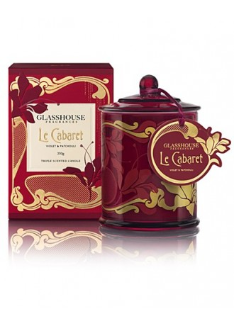 Glasshouse Fragrances Le Cabaret - Violet & Patchouli Scented Candle