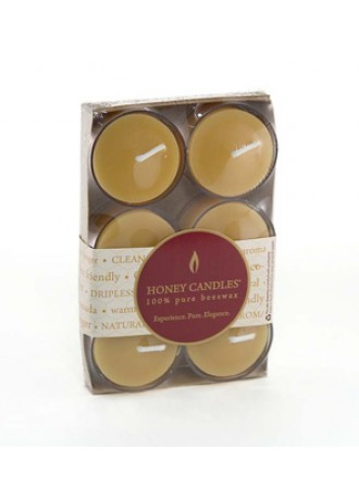 Honey Candles 100% Pure Beeswax Tealights clear cup 6 pack