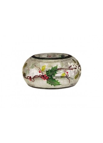 Hollyberry & Mistletoe Crackle Glass Tealight Holder